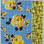 "YELLOW ROSES ON BLUE SIZE: 12"" X 12"" MESH: 13"