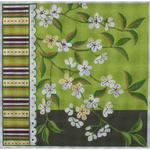 "WHITE FLORAL ON GREEN SIZE: 12"" X 12"" MESH: 13"