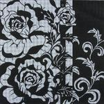 "BLACK AND WHITE ROSE SIZE: 14"" X 14"" MESH: 13"