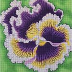 "PURPLE AND WHITE PANSY SIZE: 14"" X 14"" MESH: 13"