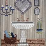 "BATHROOM SINK PRICE: $145.00     SIZE: 9.5"" X 8"" MESH: 18 *STITCH GUIDE INCLUDED"