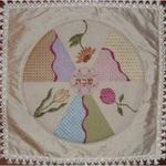 "ROUND FLOWER CHALLAH COVER SIZE: 14"" X 14"" MESH: 18 *STITCH GUIDE INCLUDED"