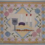 "WOVEN STARS CHALLAH COVER SIZE: 13.5"" X 15"" MESH: 13 & 18 *STITCH GUIDE INCLUDED"
