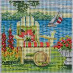 "SUMMER ON THE LAKE SIZE: 7"" X 7"" MESH: 13"